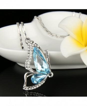 EleQueen Silver tone Butterfly Aquamarine Swarovski