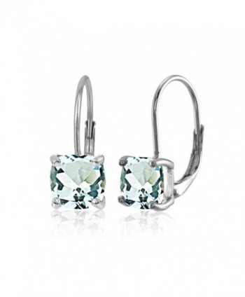 Sterling Amethyst Cushion Cut Leverback Earrings - Green Amethyst - Silver - C1186GGSD8L