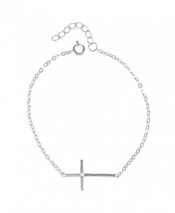 "Sterling Silver 7 + 1"" Sideways Cross Single CZ Communion-Confirmation Bracelet - C1119L5XAGH"