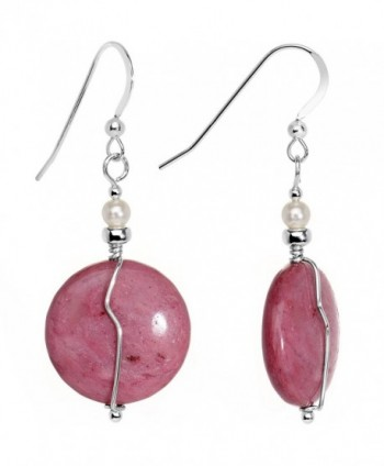 Body Candy Handcrafted 925 Sterling Silver Pink Rhodonite Earrings Created with Swarovski Crystals - CK12LJ38C53