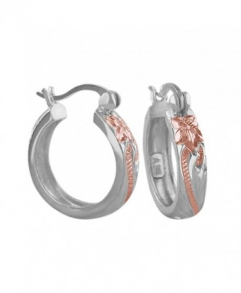 Sterling Silver with 14kt Rose Gold Plated Accents 11/16 Inch Engraved Hoop Earrings - C6116GOYCFF
