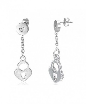 Stainless Steel Love Heart Padlock Long Drop Stud Earrings w/ Clear CZ (Pair) - EPP461 - CB12O8GVTXP