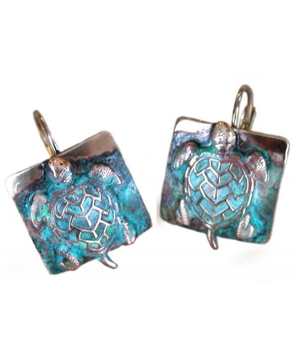 Sea Turtle Earrings - Verdigris Patina Solid Brass - C71170X1UGZ