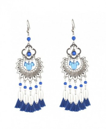 Boderier Vintage Retro Bohemian Chandelier Dangle Earrings Fashion Tassel Earrings Ear Drop - Blue - CG186YNI0CO