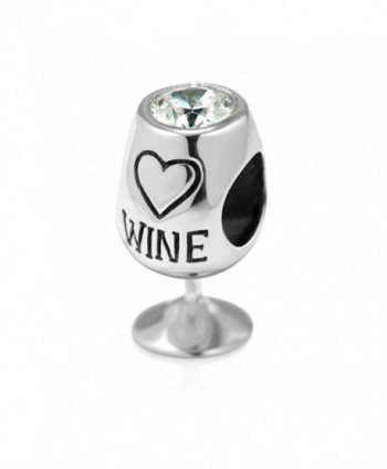 925 Sterling Silver Simulated Cubic Zirconia Love Wine Glass Bead Charm Fit Major Brand Bracelet - CW11JOS5DFD