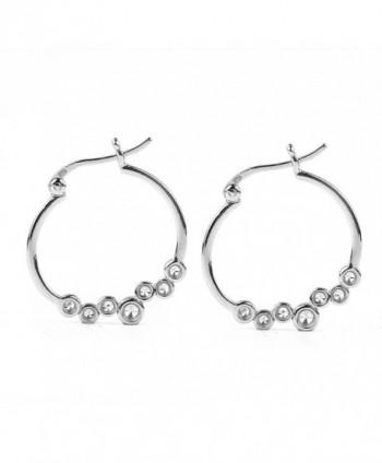 Sterling Silver Bezel Set White Cubic Zirconia Simulated Diamond Hoop Earrings - CT12KJO103T