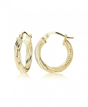 Hoops & Loops Sterling Silver 3mm Textured Twist Round Hoop Earrings- 15mm- 20mm- 25mm - C812KKGHK2B