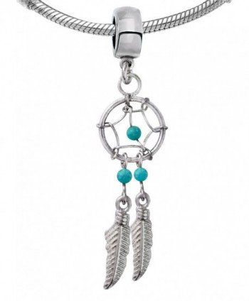 Silver Dream cather charm with Genuine Stone beads - various colors - turquoise - CT12851KS59