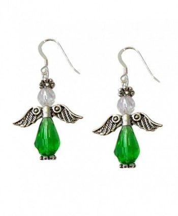 "Green Angel Earrings Faceted Celestial Crystals .925 Sterling Silver French Earwires 1.75"" Long - C811GABUZAX"