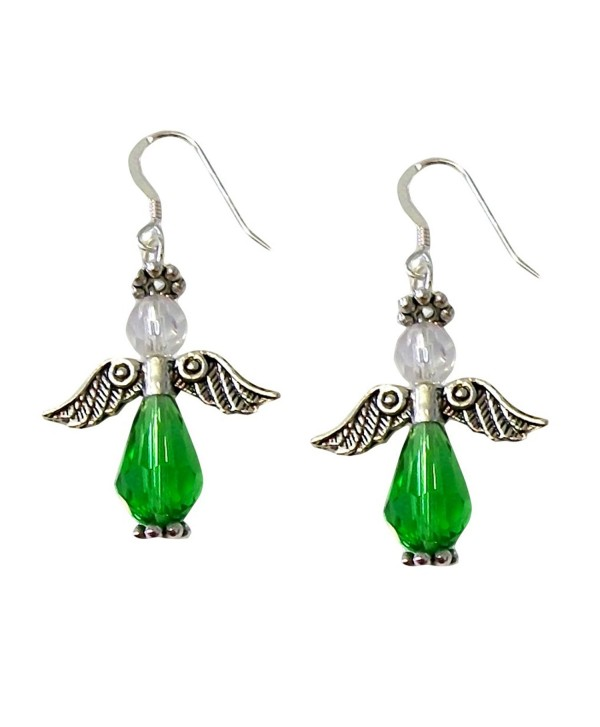"""Green Angel Earrings Faceted Celestial Crystals .925 Sterling Silver French Earwires 1.75"""" Long - C811GABUZAX"""