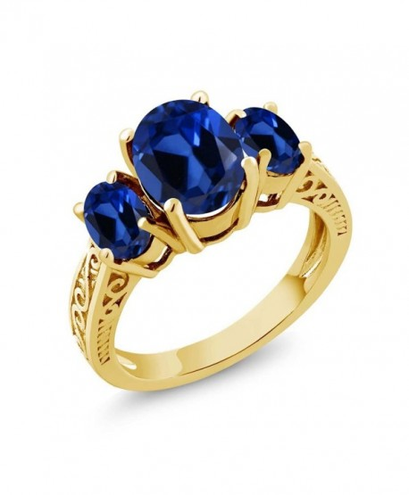 3.51 Ct Oval Blue Simulated Sapphire 925 Yellow Gold Plated Silver 3-Stone Ring - CS11GO3FZVN