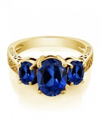 Simulated Sapphire Yellow Plated 3 Stone