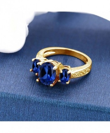 Simulated Sapphire Yellow Plated 3 Stone in Women's Statement Rings