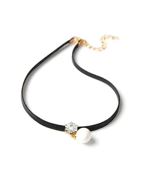 RoseSummer PU Leather Choker Charm Necklace Vintage Hippy Chocker Retro Black Leather Cord Party Jewelry - C812NU4TNJ8