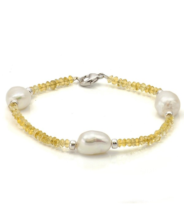 "Sterling Silver 10-10.5mm White Baroque Cultured Pearl and 3-3.5mm Simulated Citrine Bracelet- 7.5"" - CD116J5A0GP"