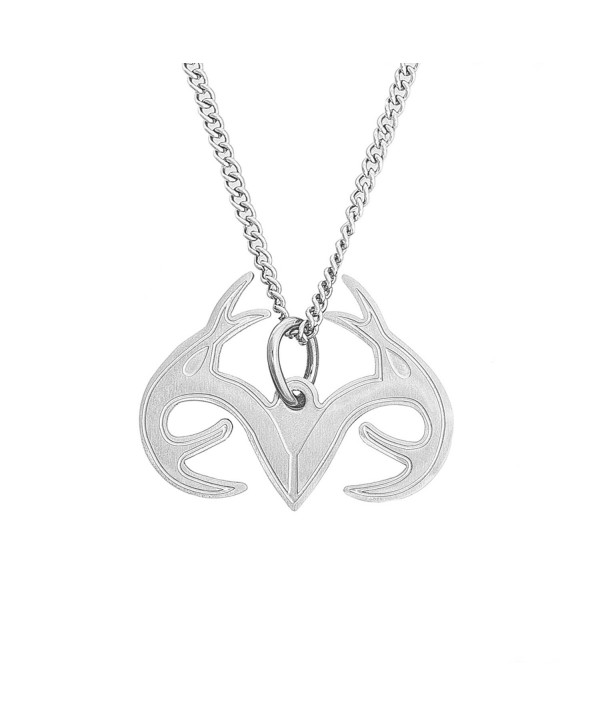 Realtree Antler Pendant Necklace Silver Stainless Steel- Licensed & Authentic - CY12081EG61