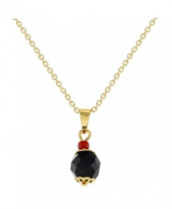 "18k Gold Plated Protection Black Simulated Azabache Pendant Necklace 19"" - CZ124JTYBT5"