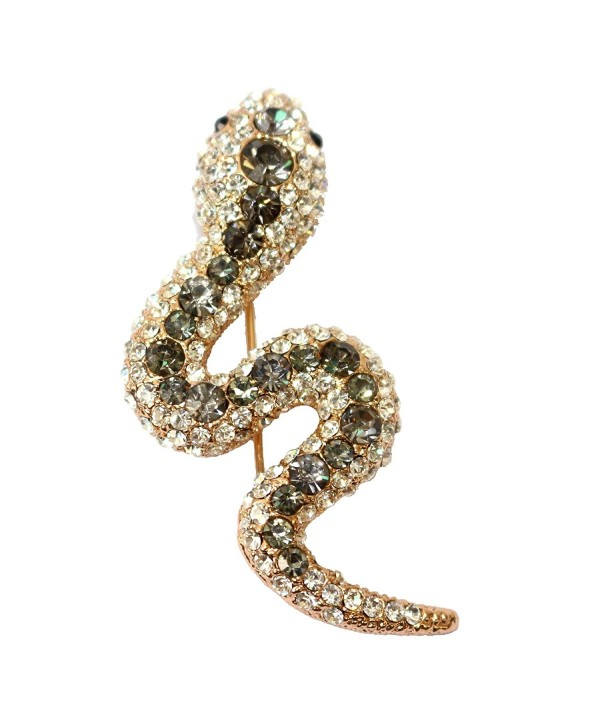 Navachi 18k Gold Plated Grey Crystal Snake Az7001b Brooch Pin - CN11VYO18JP