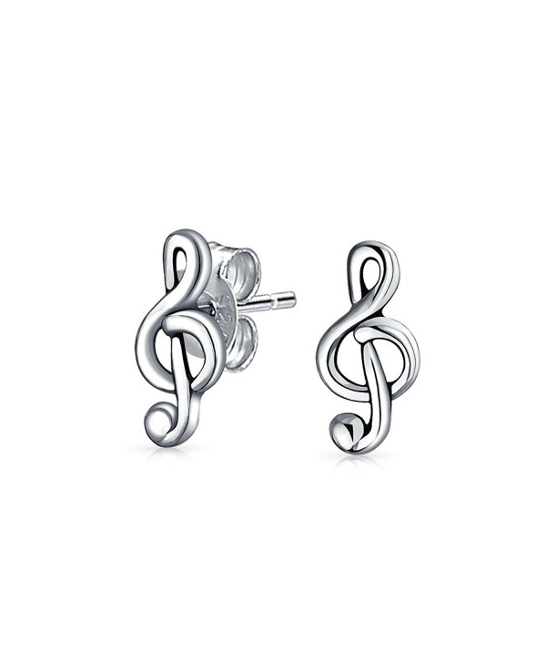 Bling Jewelry Polished Music Note Treble Clef Stud earrings 925 Sterling Silver 10mm - CH11FESVLBH