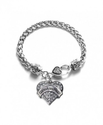 German Shepherd Pave Heart Bracelet Silver Plated Lobster Clasp Clear Crystal Charm - C0123HZF227