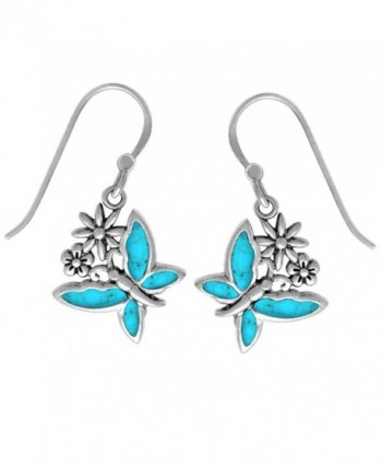 Boma Sterling Silver Butterfly Earrings - Turquoise - C311V2Q5QLL