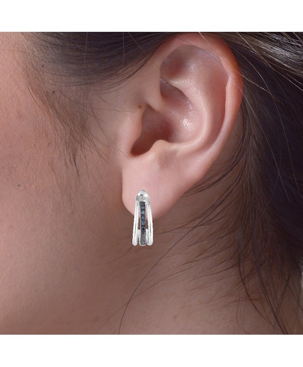 Sterling Silver Blue Diamond Hoop Earrings (1/10 cttw) - C111B7XIOT5