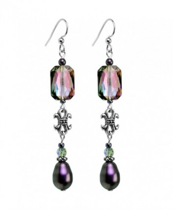 Body Candy Handcrafted Silver Plated Iridescent Tiered Drop Earrings Created with Swarovski Crystals - CP12BNKHZIR