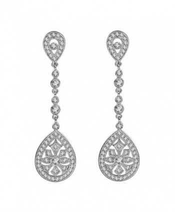 SELOVO Bridal Classical Gatsby Inspired Pave Cubic Zirconia Dangling Chandelier Earrings Pierced - CH12HB31ERX