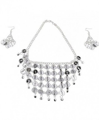 Swrose Belly Dance Gypsy Jewelry Necklace & Earrings (Silver) - CT188OYWT8A