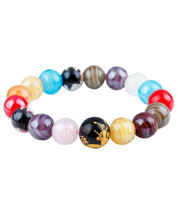 SUNYIK Genuine Semi Precious Gemstone Healing Crystal Stretch Bracelet - Lampwork Glass-Dragon Bead(12mm) - C612GEHF8R9