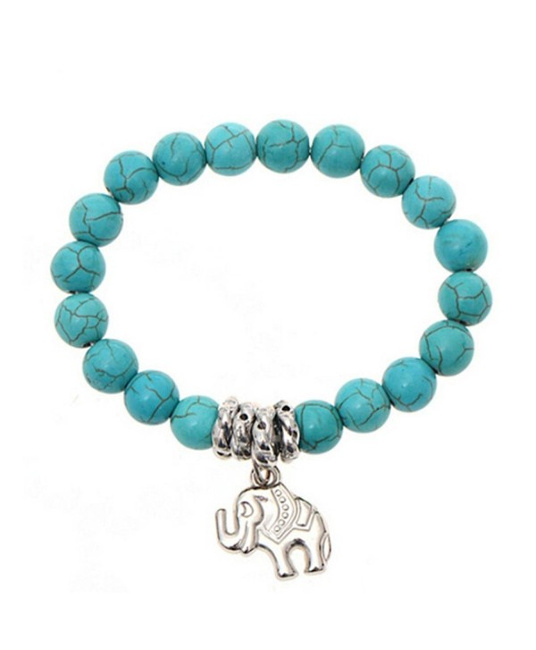 OVERMAL Elephant Turquoise Beads Bracelet Handmade Accessories Fashion Jewelry - CH126YRDW13