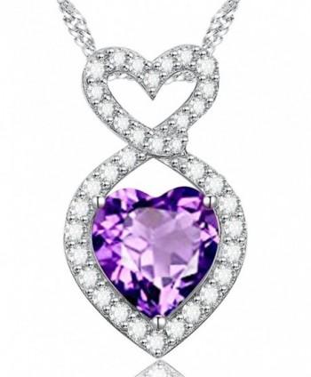 Infinity Amethyst Swarovski Birthstone Anniversary - Infinity Love Heart Necklace - CI1806324EO