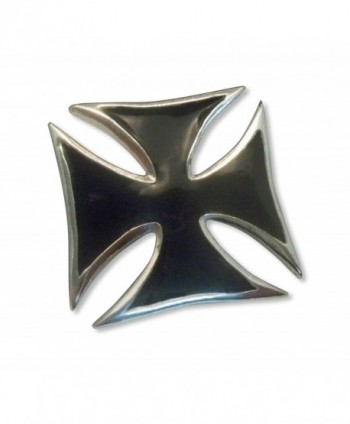 Maltese Cross Jacket or Hat Pin Black Enamel and Silver Finish Pewter (large) - CB11FAU4FIT