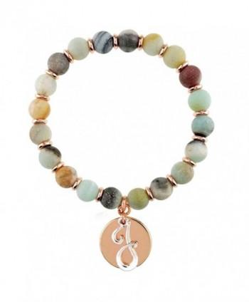 Monogram Initial Disc Charm Semi Precious Stone Stretch Bracelet - C517YEXI3EZ