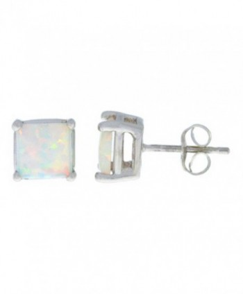 Simulated Opal Princess Cut Stud Earrings .925 Sterling Silver Rhodium Finish - CM11LFZCXID