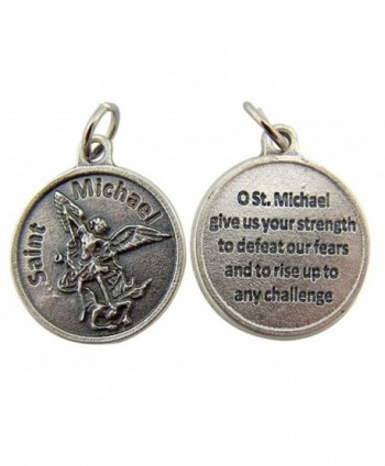 Silver Toned Base Catholic Saint Medal with Prayer Protection Pendant- 3/4 Inch - CX11DY8N739
