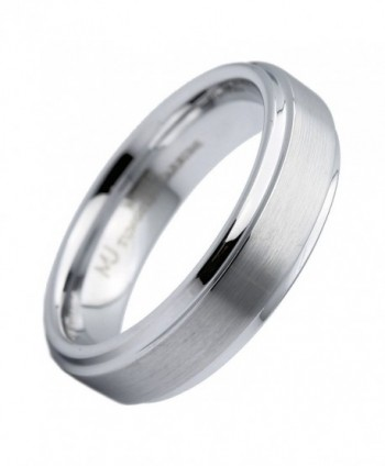 MJ 6mm White Tungsten Carbide Brushed Wedding Ring Recessed edge - CS12O6TO8WM