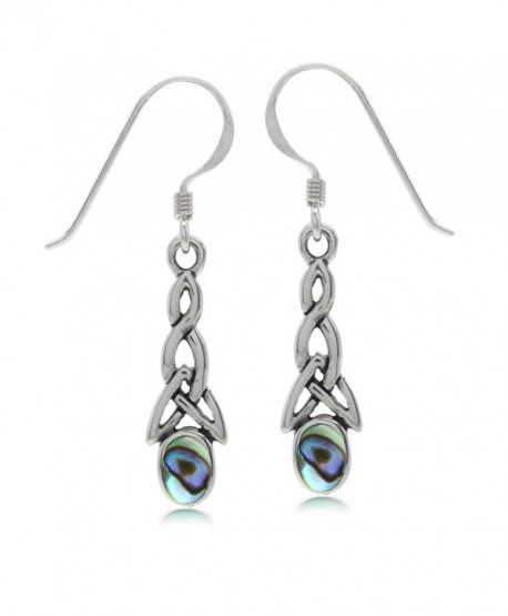 Puau/Abalone Shell Inlay 925 Sterling Silver Triquetra Celtic Knot Dangle Hook Earrings - CH128FH2O2X
