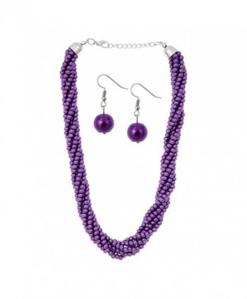 Pearl Twist Necklace & Earring Set (Purple) - Purple - CL12IASFBCB