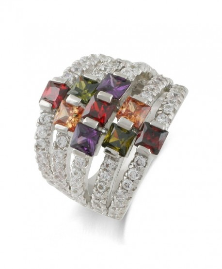 JanKuo Jewelry Rhodium Plated Multi Color Cubic Zirconia Cocktail Dome Ring - CC124JPVZ75