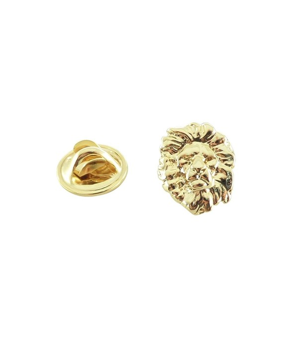 Creative Pewter Designs- Pewter Lion Head Mini Pin- Gold Plated- MG102MP - CQ12H7K5LPL