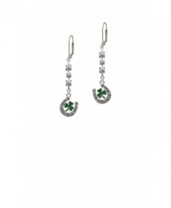 Irish Luck Horseshoe with Shamrock - Crystal Madison Leverback Earrings - CN1839LM6TI