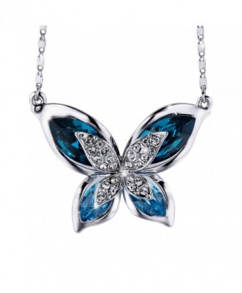 SIVERY Butterfly Necklace Swarovski Crystals - C812J3LZESB