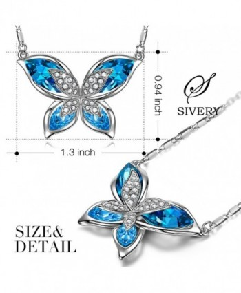 SIVERY Butterfly Necklace Swarovski Crystals