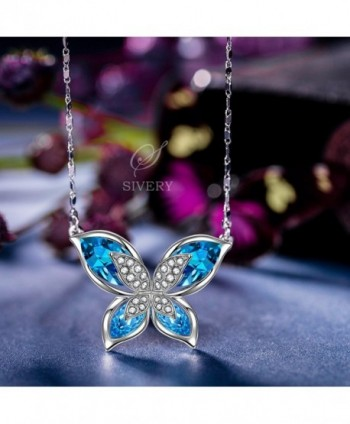 SIVERY Butterfly Necklace Swarovski Crystals in Women's Pendants