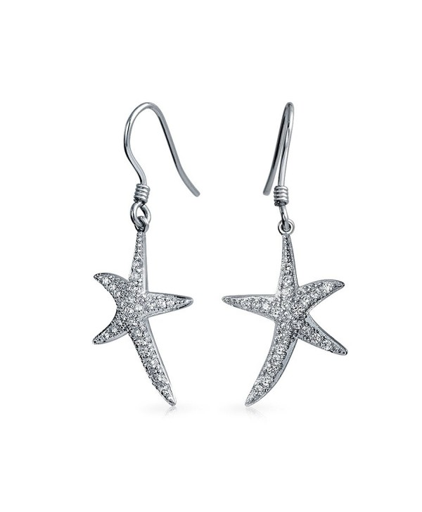 Bling Jewelry CZ Pave Starfish Dangle Earrings 925 Sterling Silver - C5113XIZBIJ