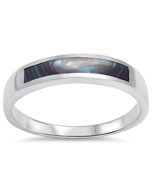 Abalone Design Band .925 Sterling Silver Ring Sizes 5-11 - CZ1263019VB