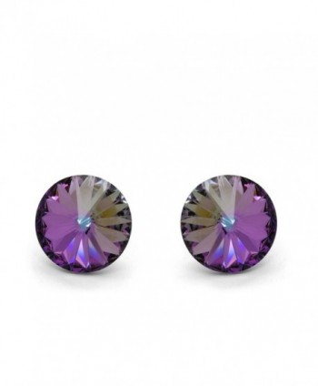 Sterling Silver 925 Made with Swarovski Elements Round Stud Earrings Pink Purple Blue - CZ11OIS00Q1