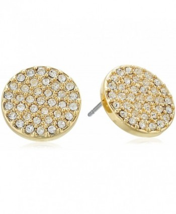 "Vera Bradley ""Pave Disc"" with Clear Stud Earrings - Gold Tone With Clear - CX17XWOL6AW"