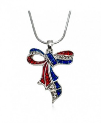 "PammyJ Red White Blue Crystal American Ribbon Pendant Necklace- 17.5"" - C712G8WFWNZ"